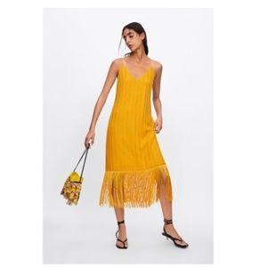 Zara, Marigold Fringe Dress, Small